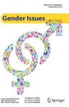 Cover image of the journal Gender Issues, showing large female and male symbols interlocking against a white background, symbols are made of rainbow bubbles, title above in a yellow box