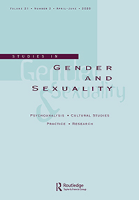 Cover image of the journal Studies in Gender and Sexuality: a light seafoam green background with the title twice in light and dark font overlapping itself