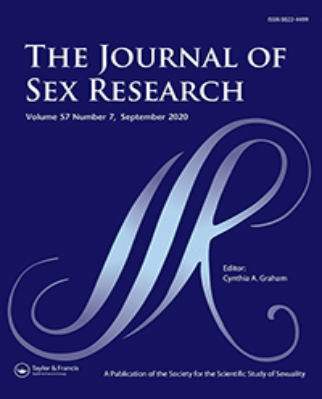 Cover image of The Journal of Sex Research, showing a large shiny cursive R against a navy blue background, title above in all caps