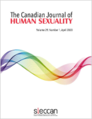 Cover image of The Canadian Journal of Human Sexuality, cover is white with a rainbow ribbon of smoke across the middle