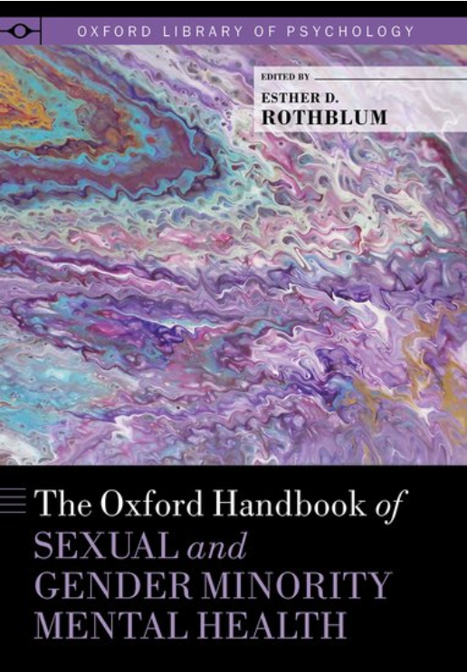 Cover image of the book The Oxford Handbook of Sexual and Gender Minority Mental Health, image of what looks like purple ocean waves above title