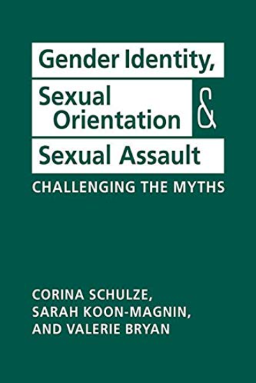 Cover image of the book Gender Identity, Sexual Orientation, and Sexual Assault, showing green text in white blocks on a green background