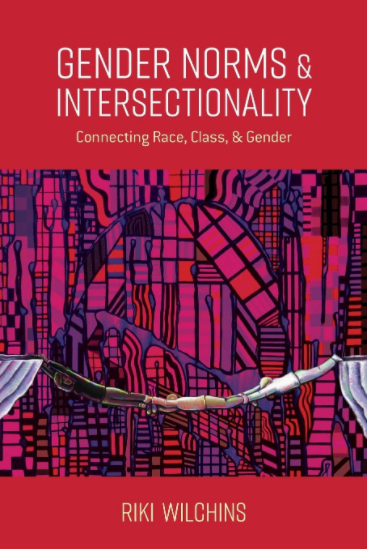 Cover image of the book Gender Norms and Intersectionality, showing three people holding onto each other's feet to form a connecting bridge against a background of red geometric shapes and lines