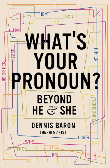 Cover image of the book What's your pronoun? showing a tan background with colourful lines like a map with different pronouns
