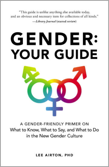 Cover image of the book Gender: Your Guide, showing interlocking rainbow symbols of genderqueer, female, and male