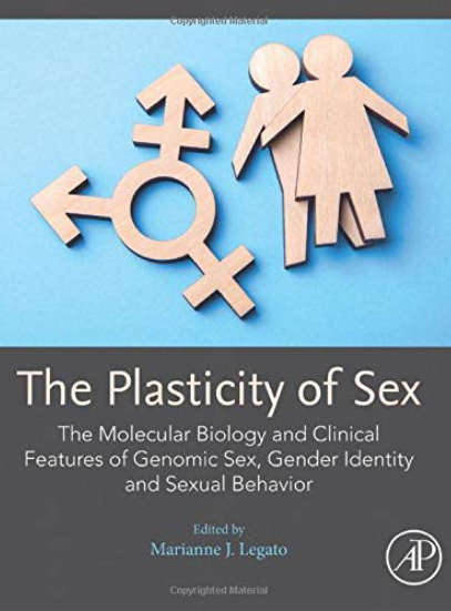 Cover image of the book The Plasticity of Sex, showing a wooden trans symbol and male and female figures stacked together against a light blue background