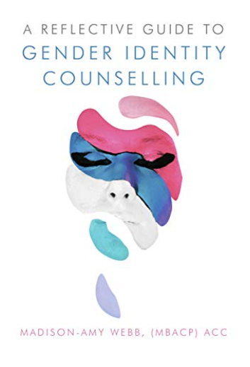 Cover image of the book A reflective guide to gender identity counselling, showing a face made up of streaks of pastel coloured paint against a white background
