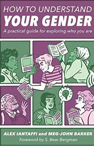 Cover image of the book How to Understand Your Gender, showing green and purple cartoon pictures of six people reading books