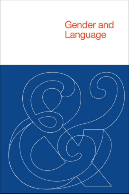 Cover image of the journal Gender & Language: white banner at the top with the title in red font aligned to the right, blue box below with two ampersands overlapping each other, one basic and one cursive