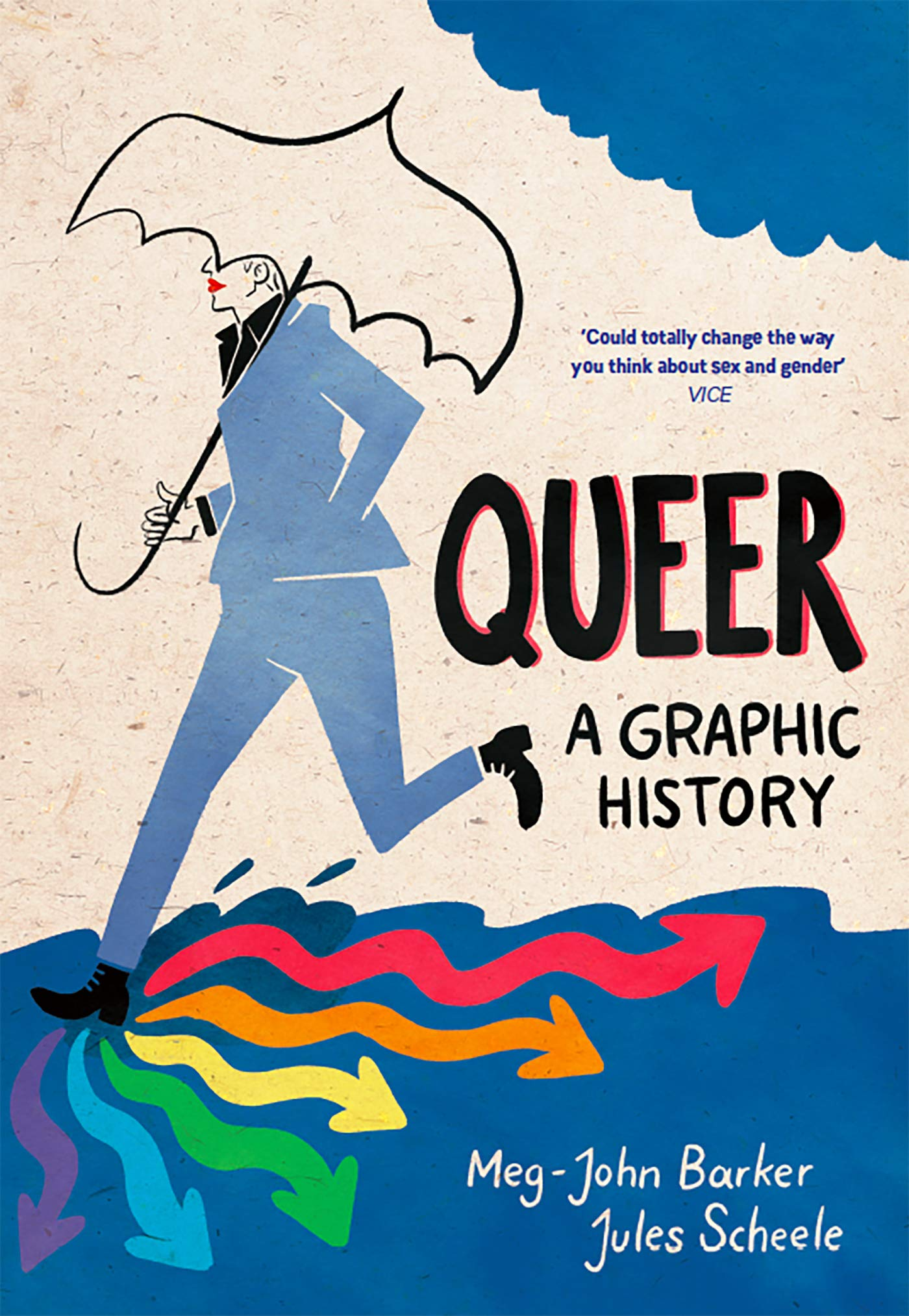 Cover image of the book Queer: A Graphic History, showing art of a person in a suit holding an umbrella and stepping quickly into a puddle, where their foot steps are squiggly arrows in rainbow colours pointing in different directions