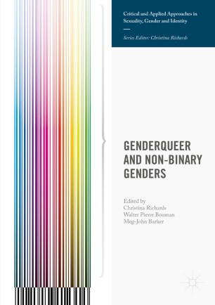 Cover image of the book Genderqueer and Non-Binary Genders, white with vertical lines down left side in rainbow colours