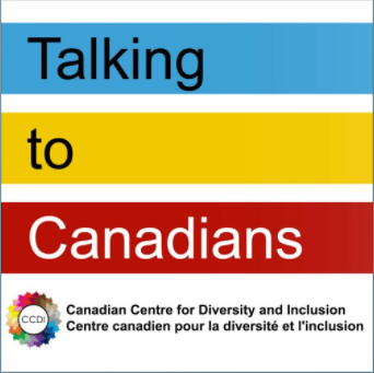 Logo for Talking to Canadians podcast.