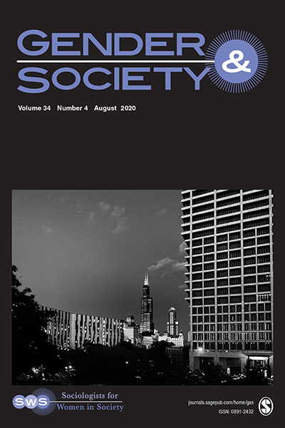 Cover image of the journal Gender & Society, image shows the title in blue font at the top against a black background, underneath there's a black and white photograph of a cityscape of buildings