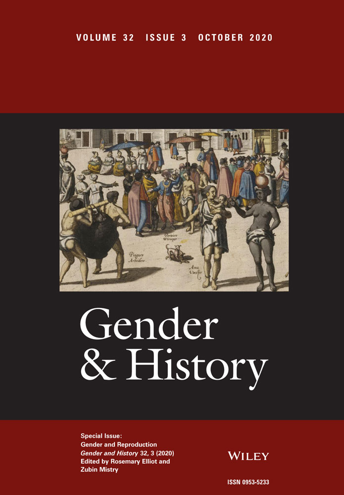 Cover image of the journal Gender & History, dark red bars at the top and bottom with journal info, black box in the center with title in white font and historical art of people in a crowded street