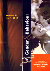 Cover image of the journal Gender & Behaviour. Cover is split down the middle, with the left half showing a red curtain and the right half showing a Black woman smiling at the viewer and a Black man smiling at the woman