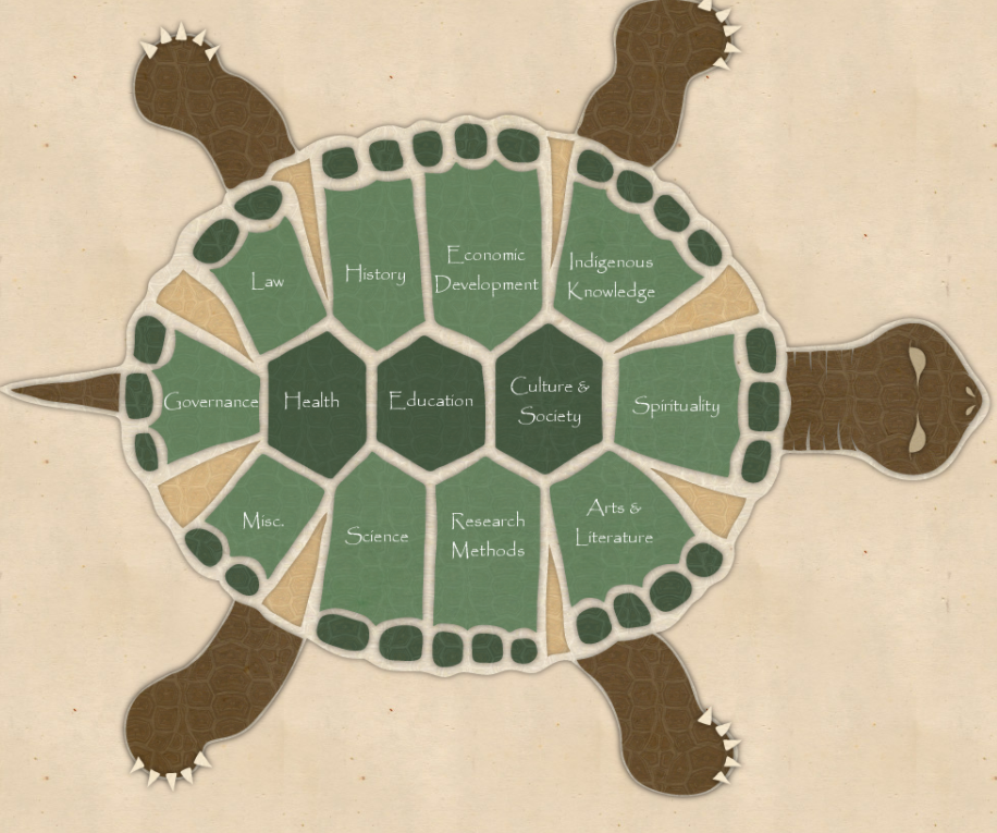 Illustration of a turtle seen from above.
