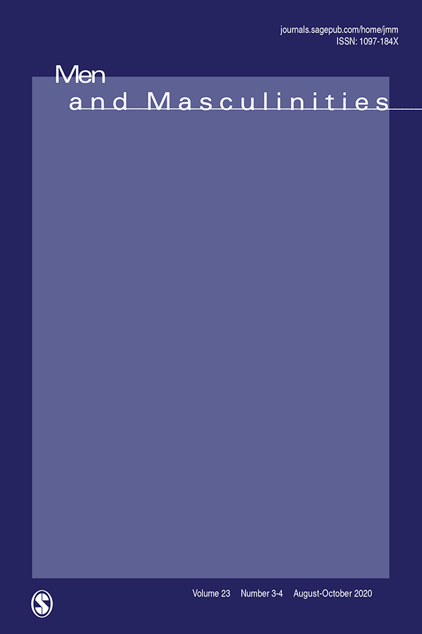 Cover image of the journal Men and Masculinities, cover is dark blue with a box of lighter blue inside, with the title in white font at the very top overlapping both shades of blue