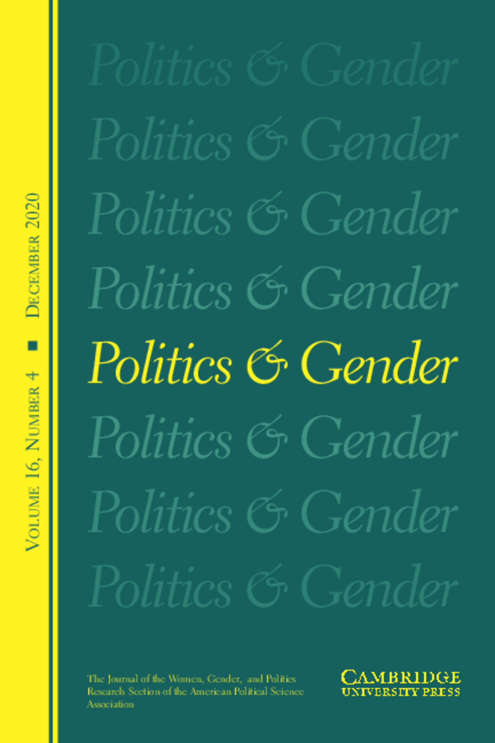 Cover image of the journal Politics & Gender, showing the title repeating 7 times in faded green font on a dark green background, the middle title in bright yellow font, yellow bar on the left side showing volume info
