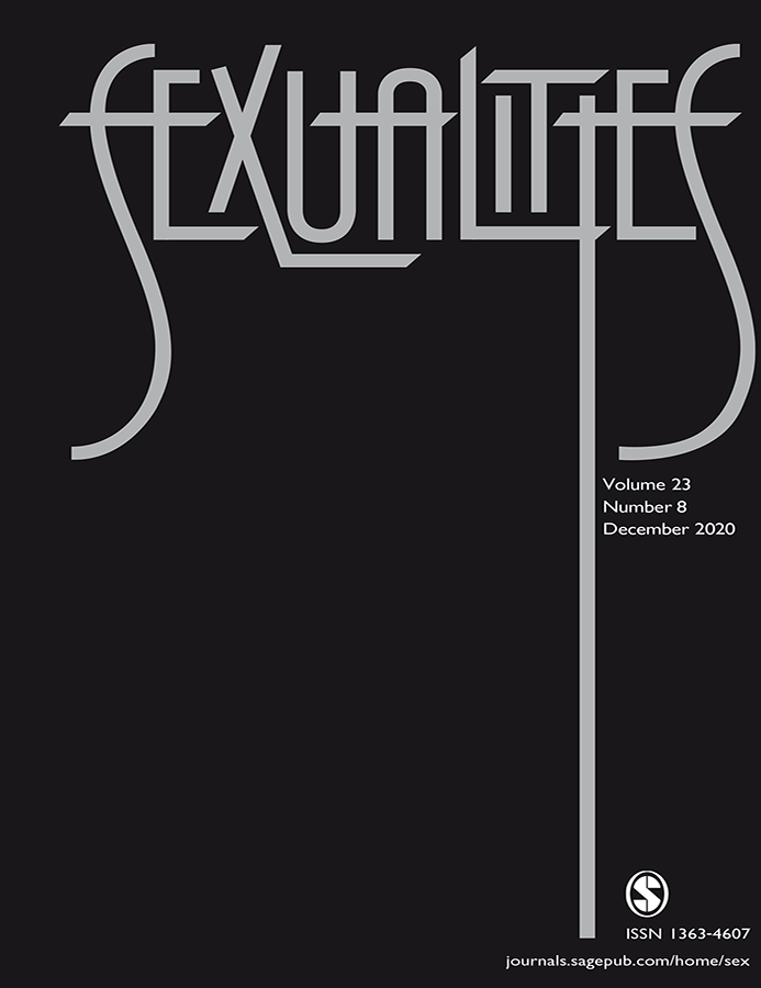 Journal with the title Sexualities. Black cover with white art deco style lettering.