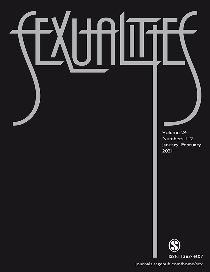 Cover image of the journal Sexualities, showing title in large grey font against a black background, the last