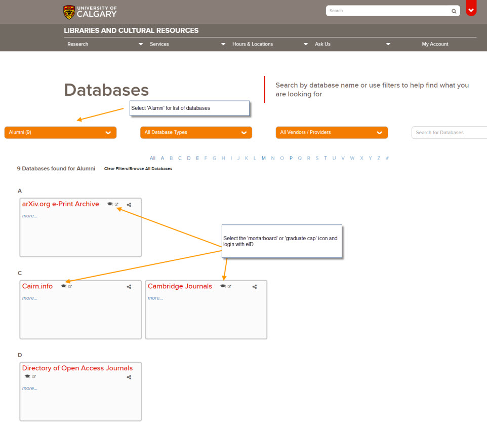 Alumni authentication-database access image