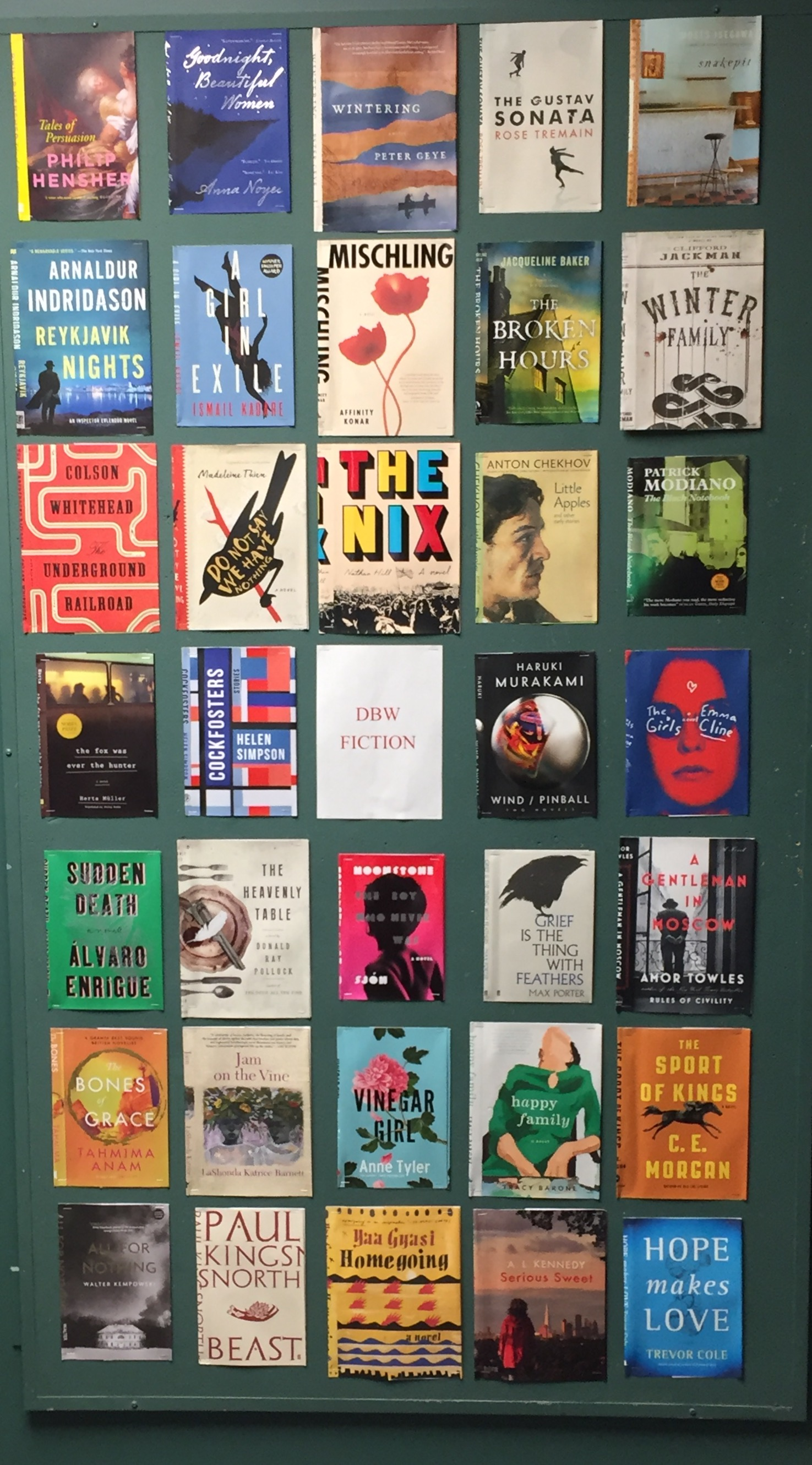 display of fiction book jackets