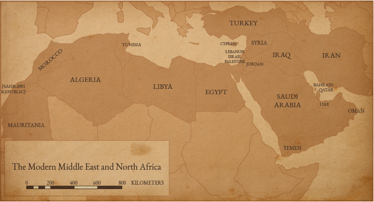 Map of the Modern Middle East and North Africa