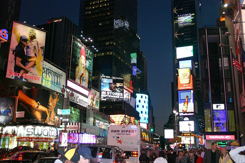Advertising Times Square at night New York City