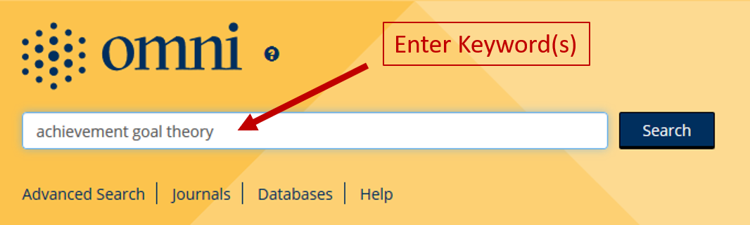 Enter keywords into the main search box on the library's home page