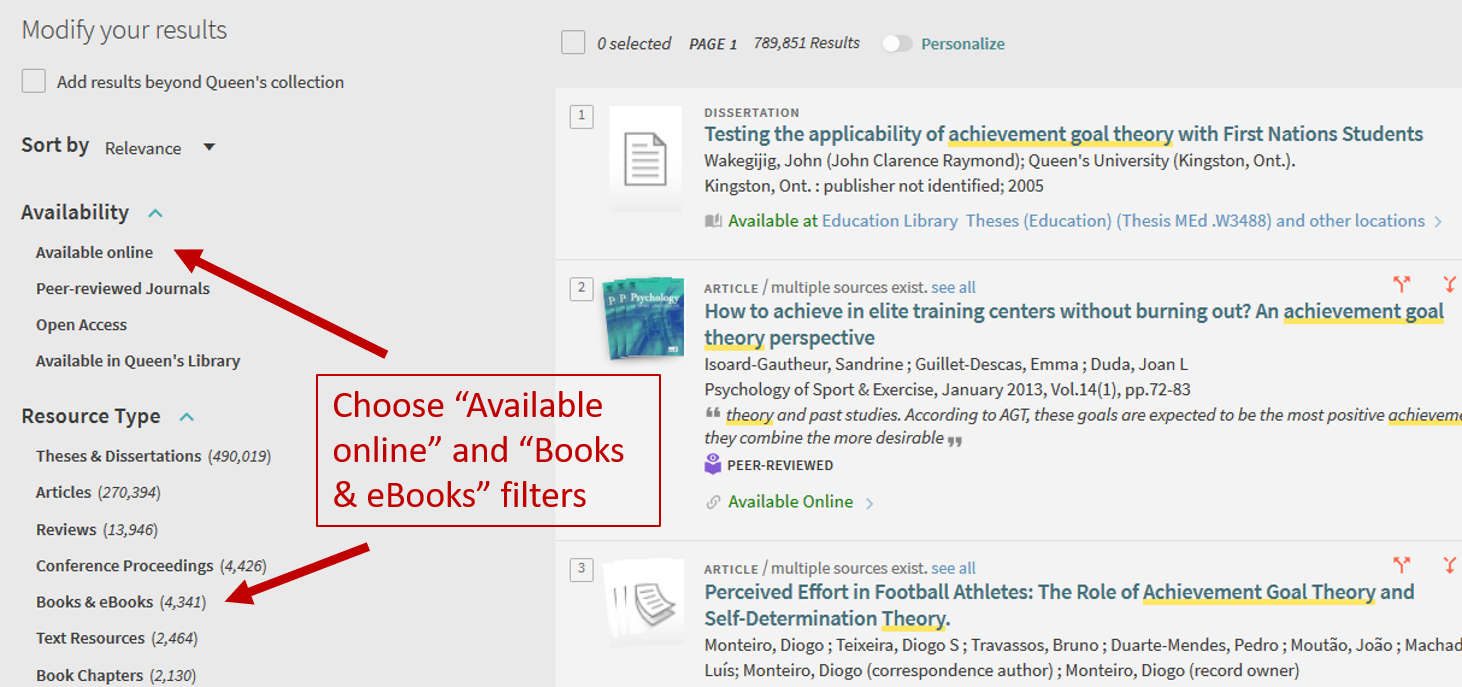 Narrow your search results using the Available online and Books and eBooks filters.