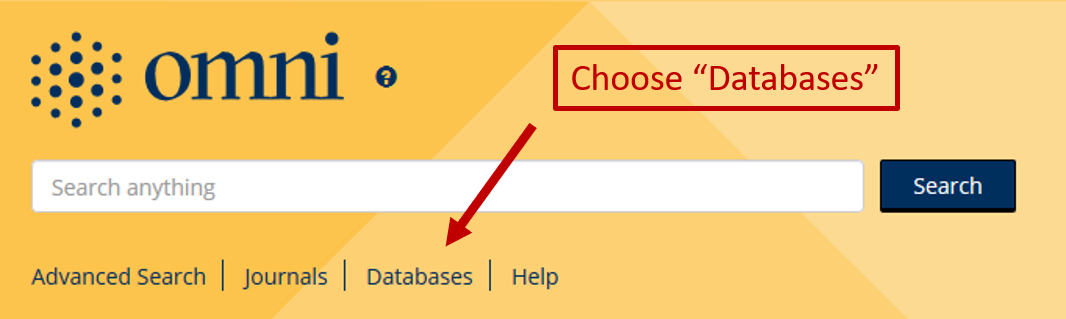 Selected the Databases link to search for a database resource