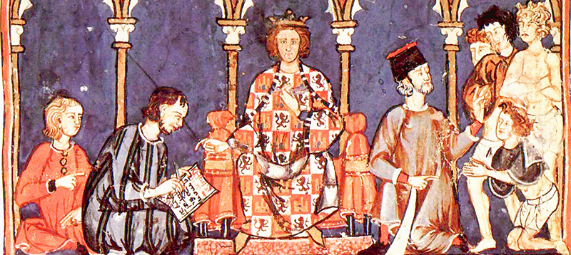 Alfonso X of Castile, from his Libro de los Juegos (folio 65r). Gratefully adapted with a CC license from Wikimedia.
