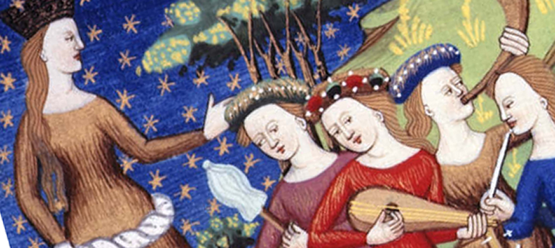 <em>Women Playing Music</em> by Giovanni Boccaccio, 15th Century. From the British Library. Public Domain. Gratefully adapted from Wikimedia.