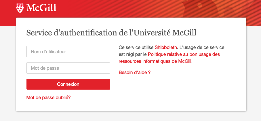 Authentification EZProxy de la Bibliothèque de l'Université McGill