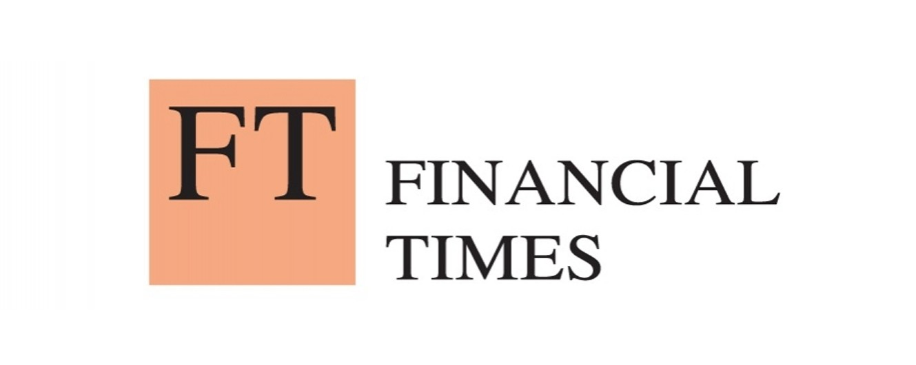 The Financial Times Logo with black capital letters FT on beige background with the name, Financial Times, spelled out next to it.