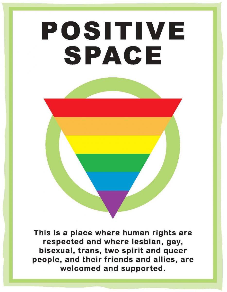 A sign with a rainbow triangle. The sign reads,