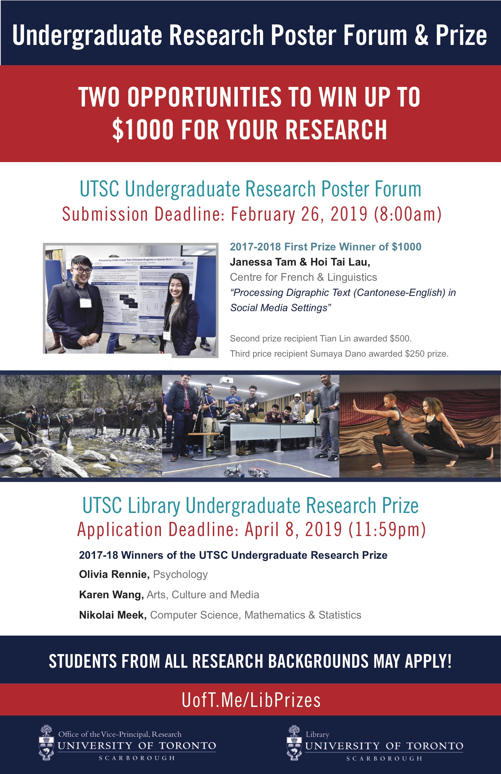 Undergraduate research poster forum and prize - announcement