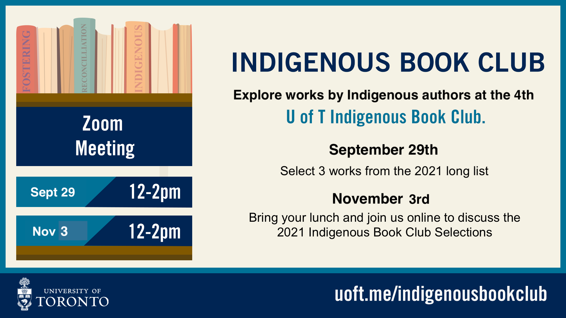 Join us for the September 3rd and November 3rd Indigenous Book Club Meetings