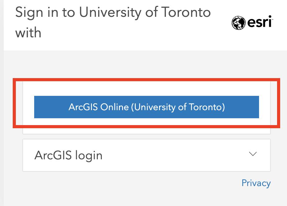 ArcGIS Online University of Toronto account