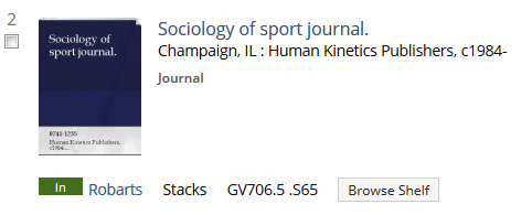 Sociology of sport journal catalog record, showing holdings information