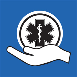 Prevention in Hand app icon, against a blue background, a hand positioned with palm towards the sky holding a star of life