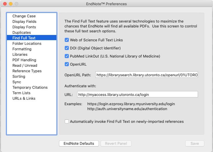 EndNote Preferences settings