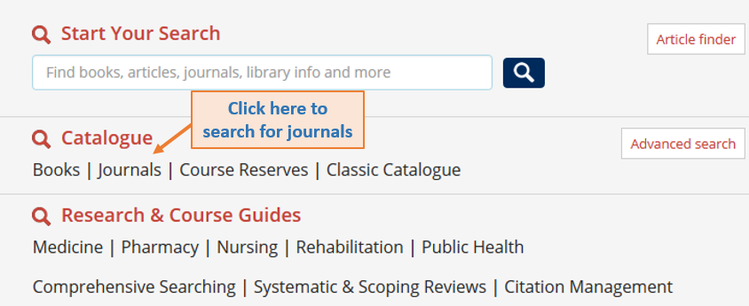 Gerstein homepage search menu from top to bottom--Start Your Search bar, Catalogue (Journal option highlighted), Research and Course Guides