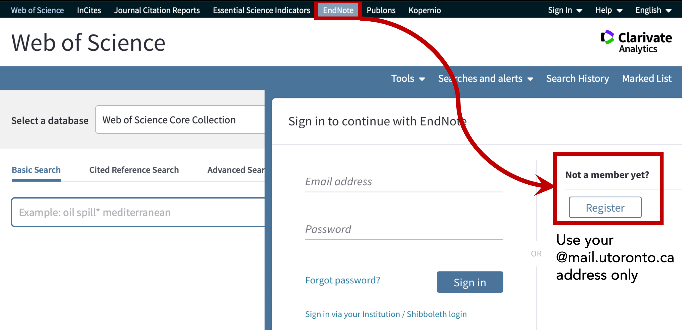 creating an End Note web login