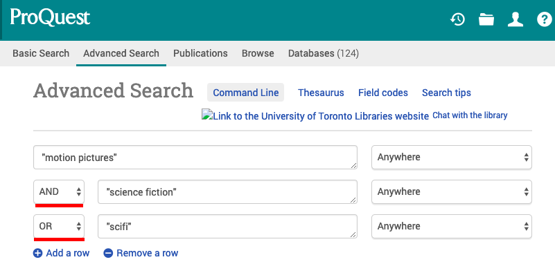 screen shot of ProQuest Advance Search box