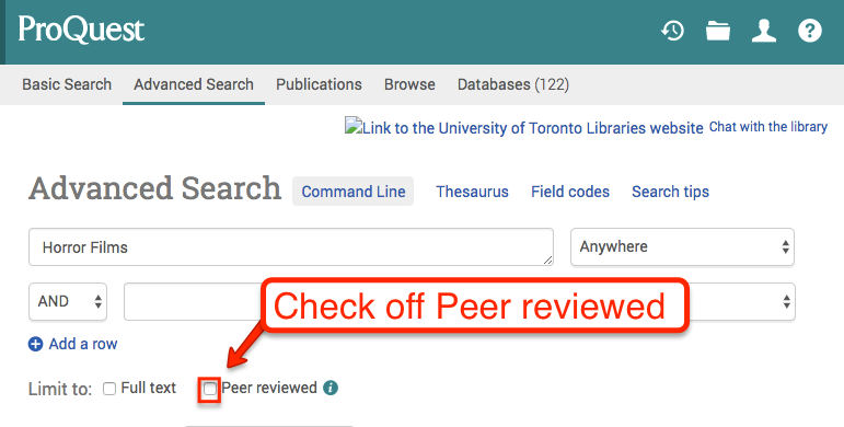 screenshot of ProQuest search page highlighting the Peer Review Filter
