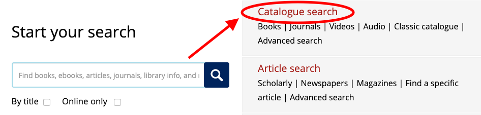 Screen shot of UofT Library Wesite highlighting Catalogue Search link