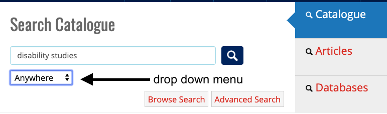 Screenshot of drop down menu for search catalogue tool