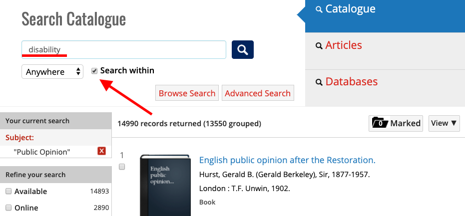 screenshot of Library catalogue highlightin search with tool to narrow search results