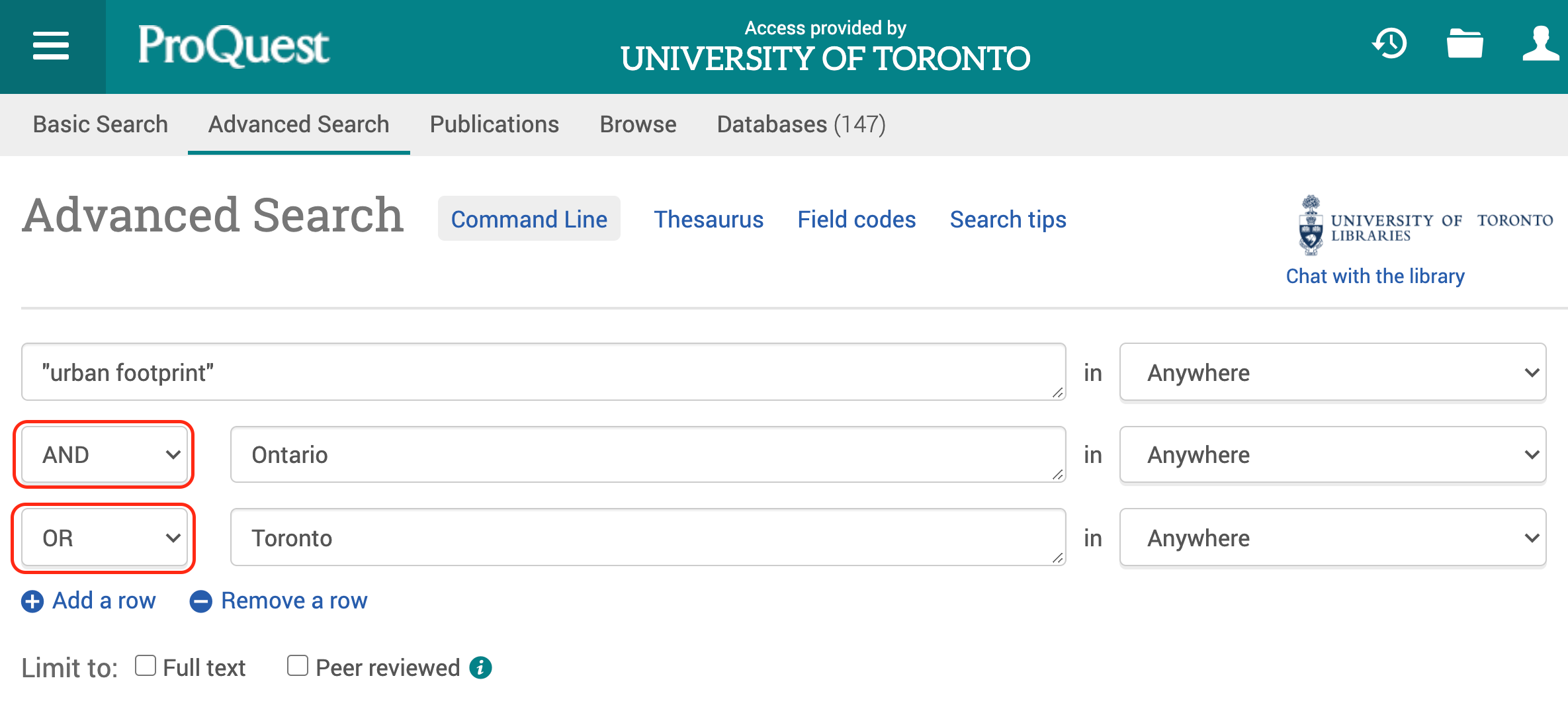 """Screen Shot ProQuest Advance Search with search terms """"urban footprint"""" AND Toronto OR Ontario"""